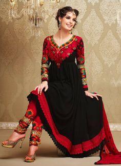 Plushy Black & Red Embroidered Salwar Kameez #ethnic