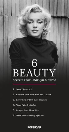 Marilyn Monroe has taught us a lot about what it means to be a beauty icon. We've discovered that the sexy starlet had a few must-know beauty tricks. From old-school highlighting methods to her signature fragrance, Marilyn's beauty secrets are still worth practicing today! Add a little retro glamour to your daily beauty routine with Chanel N°5, red lipstick, skin care products, false lashes and eyeliner!