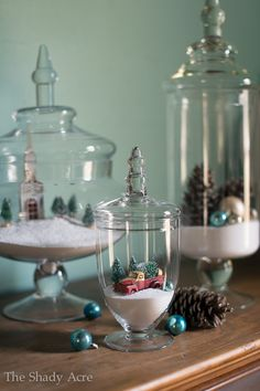 Apothecary jars, ornaments and baking powder