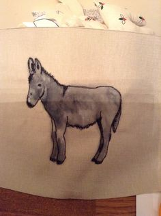 donkey - hand painted and free motion embroidered