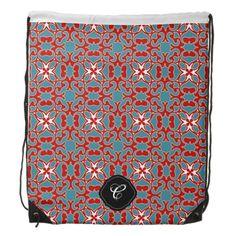 Custom monogram primitive turquoise pattern drawstring bag