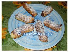 cannoli di pasta sfoglia a crema e cioccolato