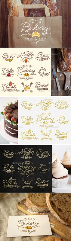 Flat Bakery Symbols #bakery #branding #bread • Available here → http://graphicriver.net/item/flat-bakery-symbols-/15554802?ref=pxcr