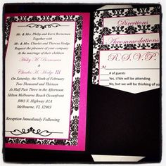 My Diy Damask Pocketfold Invitiations Wedding Black Inspiration Invitations Pink White