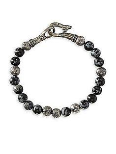 John Varvatos Mercer Sterling Silver & Obsidian Bead Bracelet Abalone Jewelry, John Varvatos, Beaded Bracelets, Amp, Sterling Silver, Beads, O Beads, Beading, Pearl Bracelets