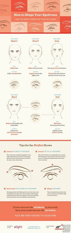 24. How to #Shape Your Eyebrows for Your Face Shape - 29 #Makeup Infographics for a #Library of Awesome Tips ... → Makeup #Infographics