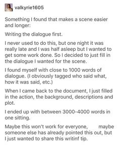 I love writing dialogue and always find the scene easier to imagine with a bit of dialogue first! Creative Writing Prompts, Book Writing Tips, Writing Words, Writing Resources, Writing Help, Writing Skills, Writing Ideas, Dialogue Writing, Writing Workshop