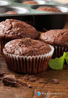 Indulge your sweet tooth with these minty chocolate muffins made from good-for-you ingredients. #chocolate #glutenfree #holidays #muffins #recipes