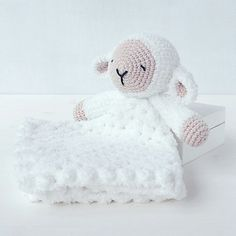 Sleepy Sheep Lovey Pattern  Security Blanket  Crochet Lovey