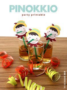 Imprimible Pinocho para pajitas. Ideal para fiestas infantiles (Pay per tweet) >> Pinocchio party printable.