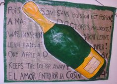 Huge Champagner Bottle Plastic length 185cm to 150cm with riddles in different languages