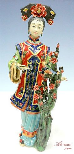 Joyful Lady Bird - Shiwan Chinese Ceramic Lady Figurine : Art-sam.com