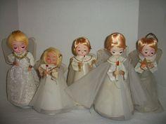 Mixed Lot of 5 Vintage Christmas Angel Dolls~Musical~Tree Topper~Sankyo~Japan