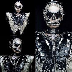 Day6 of my #31daysofhalloween #goth #spikes #butterfly #skull #makeupinspo #halloween #halloweenmakeup #halloweenmakeupideas #amazing #beautiful  #facepainting #bodypainting #artist #bobbibicker #london