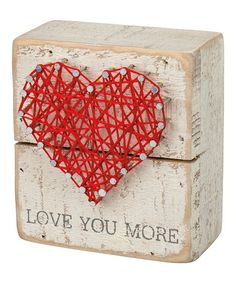 Primitives by Kathy Love You More Heart String Art Box Sign   zulily