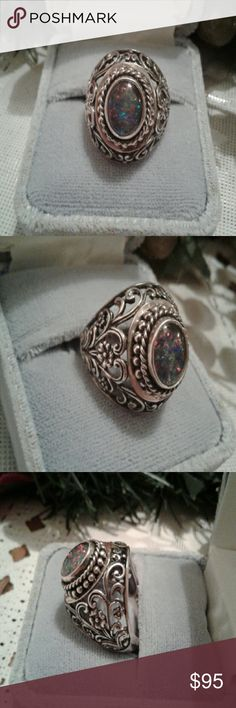 💥SALE💥VINTAGE OPAL RING SS Gorgeous Opal  ring vintage in solid  SS. Stunning. Filigree design. This is quality craftsmanship. Solid in weight and an absolute Statement piece. Marked. Stamped.   ❤REASONABLE OFFERS WELCOME❤ Vintage Jewelry Rings