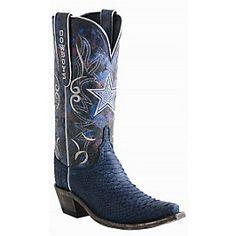 Dallas Cowboys Lucchese Women's Sueded Python Swarovski Boot - Width B