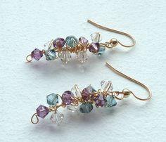 Purple Blue Earrings Statement Jewelry