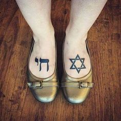 Jewish tattoos done by Chelsea Soto #chai #magendavid #jewishtattoo #foottattoo