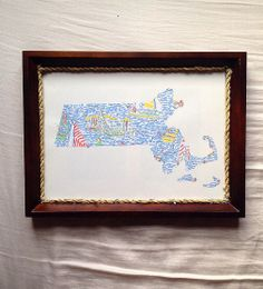Preppy dorm decor: Lilly pulitzer home state with rope frame