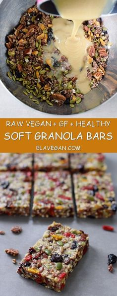 These muesli bars are chewy, soft and the perfect snack. My recipe is (raw) vegan, gluten free, refined sugar-free, healthy and easy to make (carb free snacks) Healthy Vegan Dessert, Raw Vegan Desserts, Healthy Bars, Raw Vegan Recipes, Vegan Foods, Vegan Raw, Raw Vegan Breakfast, Fruit Recipes, Healthy Gluten Free Snacks
