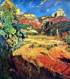 Joaquim Mir i Trinxet, Red Valley, 1924 Landscape Art, Landscape Paintings, Landscapes, Spanish Painters, Spanish Artists, Southern Europe, Amazing Paintings, High Quality Images, Expressionism