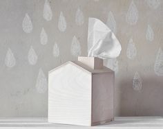 Tissue Box - Wooden House With Chimney, Unfinished Wood, Christmas Decor…