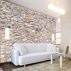 tapete-steine-steinoptik-bruchsteine-steintapete-beige-braun ... - Wohnzimmer Steintapete