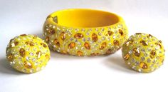 Yellow Weiss Rhinestone Bracelet & Earrings, Vintage Clamper