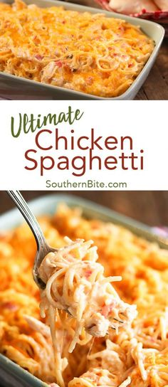 This Ultimate Chicken Spaghetti is my favorite comfort food. The gooey, cheesy perfection just can't be beat! And it's so easy to make! I even got all the ingredients at my local @FamilyDollar store! #sponsored #recipe #spaghetti #chicken