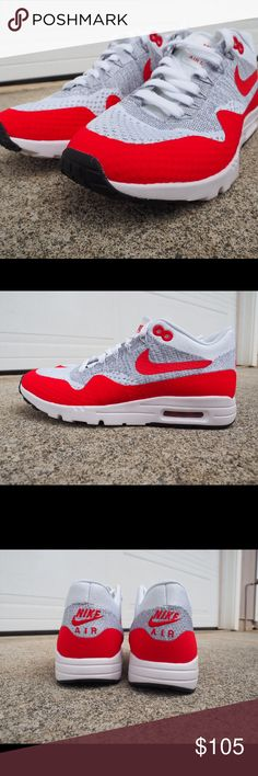 finest selection 96e0a fe674 Nike Air Max 1 Ultra Flyknit Womens SZ 8 White Red Nike Air Max 1 Ultra
