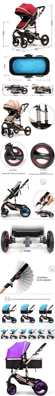 Luxury Newborn Baby Strollers Travel Systems Carriage Toddler Infant Stroller Pushchair Pram Foldable Anti-shock (Purple)