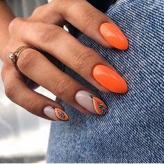 Fruit Nail Designs, Orange Nail Designs, Ongles Bling Bling, Bling Nails, Minimalist Nails, Hot Nails, Hair And Nails, Holloween Nails, Nagel Bling