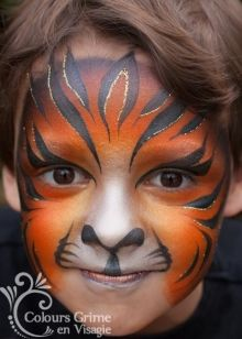 Tiger beautfiul colours and lines Face Painting Images, Animal Face Paintings, Face Painting For Boys, Face Painting Designs, Animal Faces, Tiger Face Paints, Cool Face Paint, Kids Makeup, Boy Face