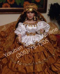 """Gypsy doll 26"""" porcelain by Marlene at Yoruban Arts"""