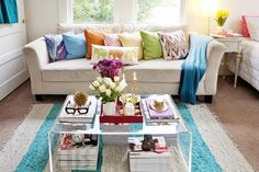 Shop the Room: Jesica's Mix & Match Living Room | Apartment Therapy---especially the acrylic coffee table