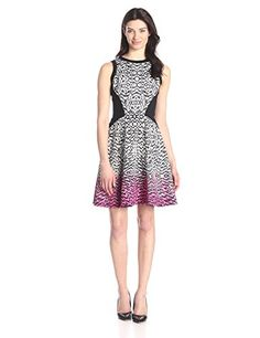 Maggy London Women's Brushed Animal Printed Scuba Fit and Flare Dress, Soft White/Berry Rose, 6 - Women's Hot Dresses Fit Flare Dress, Fit And Flare, Summer Work Dresses, I Love Fashion, Womens Fashion, Ladies Of London, Hot Dress, Work Wear, How To Wear