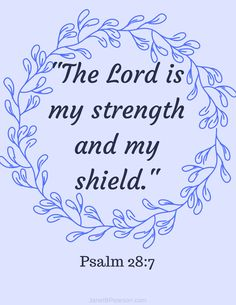 """Psalm 28:7 Inspirational Print. """"The Lord is my strength and my shield"""". 8X10 Downloadable PDF. Suitable for Framing. #printable #psalm #strength #shield #bibleart #bible"""