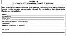 LISTA DE CHEQUEO INSPECCIÓNES PLANEADAS