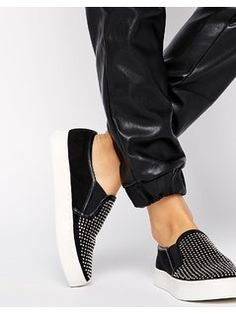 River Island Bling Slip on Plimsoll Trainers - Black