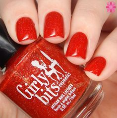 The twinkle and sparkle in Little Red Toque is truly amazing! This vibrant red base is a jelly, but it has amazing coverage and needs only two easy coats. It's loaded with gold holographic twinkle, and must be seen in person.