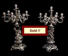 TWO AUSTRO-HUNGARIAN (HABSBURG) EMPIRE ROYAL 19th CENTURY STERLING SILVER CANDELABRA - FAMILY CREST ON EACH PIECE  SOLD NOVEMBER 2013 - Two Austro-Hungarian (Habsbury) Empire Royal 19th Century Sterling Silver Candelabra – Family Crest on Each Piece Silver Candelabra, Austro Hungarian, Family Crest, November 2013, Flatware, 19th Century, Empire, French, Sterling Silver