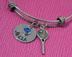 Personalized Girls Bracelet | Tennis Bracelet | Tennis Jewelry | Tennis Gifts | Tennis Charm Bracelet | Gift Tennis Player | Tennis Charm | by…