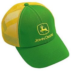 2842926386a3b7 John Deere Classic Logo Mesh Hat Green and Yellow Men's Clothing, Tejido,  Men Clothes