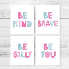 Be Kind Be Brave Be Silly Be You Printable Art, Set of 4 Prints, Kids Wall Art, Classroom Decor Playroom Wall Art Posters *INSTANT DOWNLOAD* Playroom Rules, Playroom Decor, Kids Decor, Printable Classroom Posters, Art Classroom, Printable Art, Baby Nursery Art, Nursery Wall Decor, Kids Room Art