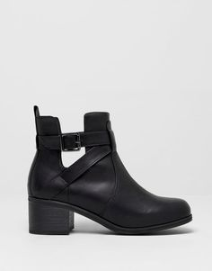 :HIGH HEEL CUT-OUT ANKLE BOOTS