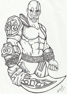 desenho do god of war para pintar Kratos God Of War, Pencil Art Drawings, Art Sketches, Tattoo Sketches, Naruto Drawings, Character Drawing, Character Design, Art Tumblr, Warrior Tattoos