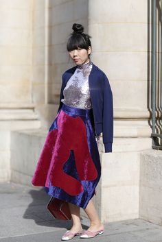 Susie Bubble wearing Comme des Garcons trackie top, Dior sequinned poloneck, Comme des Garcons skirt, Carven bag, Ashley Williams x Red or Dead shoes #susielau #stylebubble