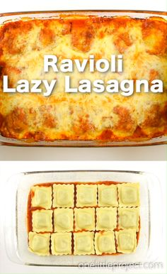 This quick and easy recipe for lazy lasagna with baked ravioli tastes SOOOO good! It has all the flavours of a traditional lasagna, but you can assemble it in less than 10 minutes! Ravioli Lasagne, Ravioli Bake, Baked Ravioli, Ravioli Recipe, Fun Easy Recipes, Quick Easy Meals, Low Carb Recipes, Cooking Recipes, Yummy Easy Dinners