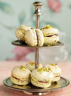 pistachio & raspberry macaroons also tea party perfect